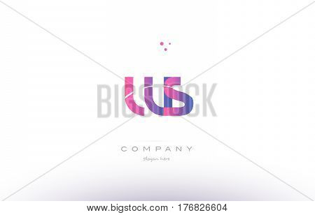 Ws W S  Pink Modern Creative Alphabet Letter Logo Icon Template