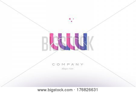 Ww W  Pink Modern Creative Alphabet Letter Logo Icon Template