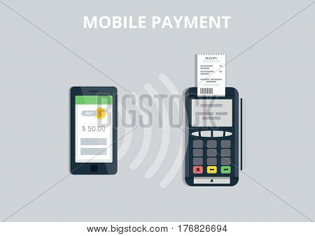 Mobile Payment and NFC technology concept. Pos terminal confirms payment from smartphone. Flat style vector illustration.