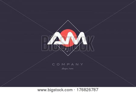 Am A M  Vintage Retro Pink Purple Alphabet Letter Logo Icon Template