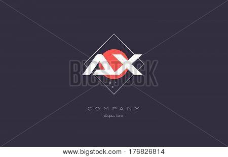 Ax A X  Vintage Retro Pink Purple Alphabet Letter Logo Icon Template
