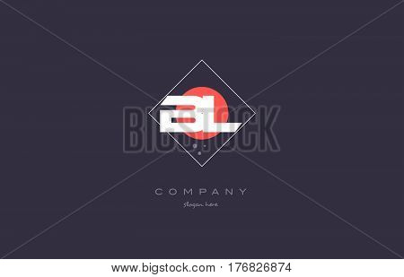 Bl B L  Vintage Retro Pink Purple Alphabet Letter Logo Icon Template