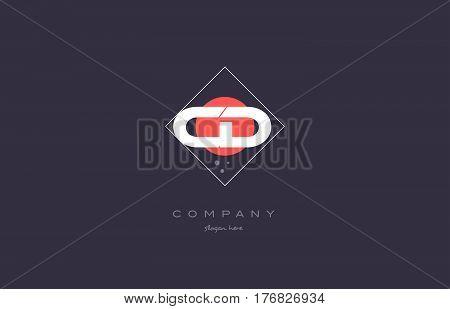 Cd C D  Vintage Retro Pink Purple Alphabet Letter Logo Icon Template