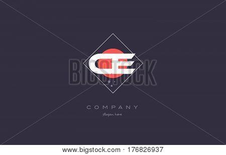 Ce C E  Vintage Retro Pink Purple Alphabet Letter Logo Icon Template
