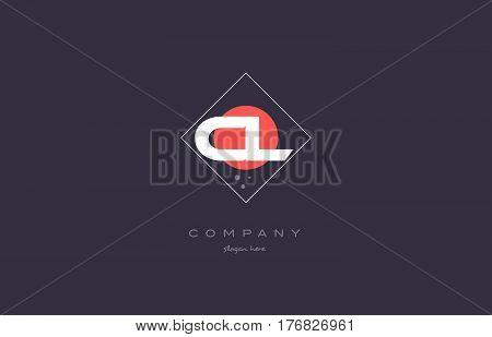 Cl C L  Vintage Retro Pink Purple Alphabet Letter Logo Icon Template
