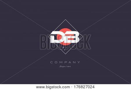 Db D B  Vintage Retro Pink Purple Alphabet Letter Logo Icon Template