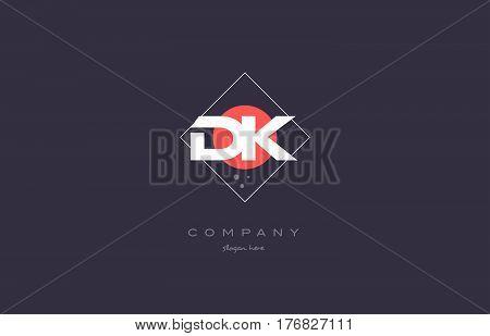 Dk D K  Vintage Retro Pink Purple Alphabet Letter Logo Icon Template