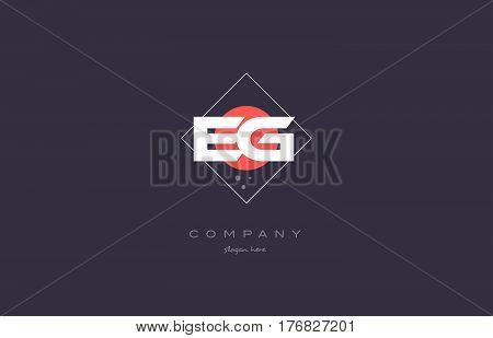 Eg E G  Vintage Retro Pink Purple Alphabet Letter Logo Icon Template
