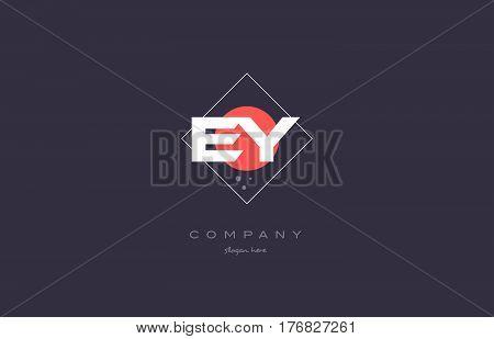 Ey E Y  Vintage Retro Pink Purple Alphabet Letter Logo Icon Template