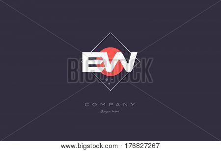 Ew E W  Vintage Retro Pink Purple Alphabet Letter Logo Icon Template