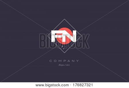 Fn F N  Vintage Retro Pink Purple Alphabet Letter Logo Icon Template