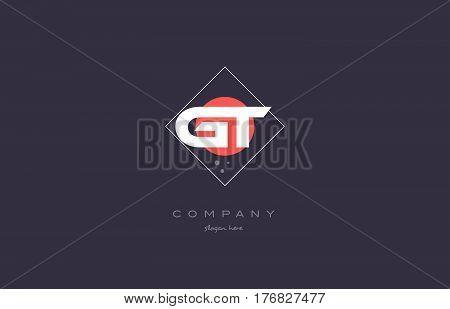 Gt G T  Vintage Retro Pink Purple Alphabet Letter Logo Icon Template