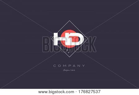 Hd H D  Vintage Retro Pink Purple Alphabet Letter Logo Icon Template