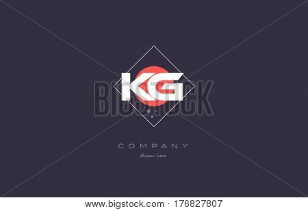 Kg K G  Vintage Retro Pink Purple Alphabet Letter Logo Icon Template
