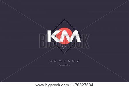 Km K M  Vintage Retro Pink Purple Alphabet Letter Logo Icon Template