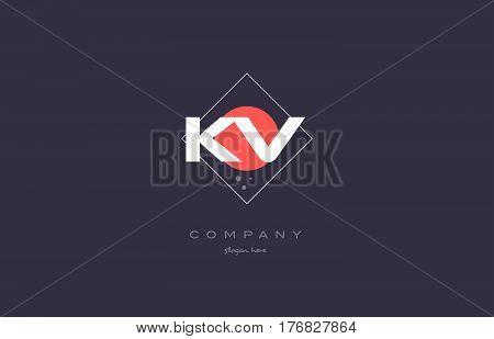Kv K V  Vintage Retro Pink Purple Alphabet Letter Logo Icon Template