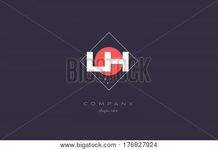 Lh L H  Vintage Retro Pink Purple Alphabet Letter Logo Icon Template