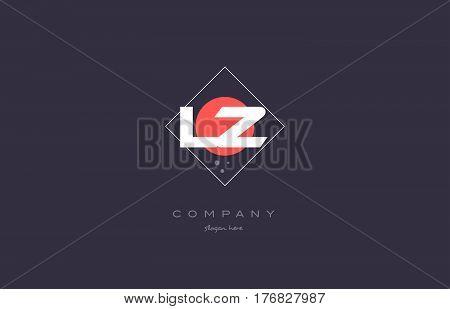 Lz L Z  Vintage Retro Pink Purple Alphabet Letter Logo Icon Template