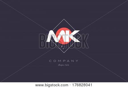 Mk M K  Vintage Retro Pink Purple Alphabet Letter Logo Icon Template