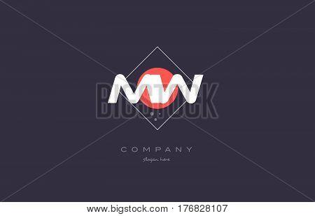 Mw M W  Vintage Retro Pink Purple Alphabet Letter Logo Icon Template
