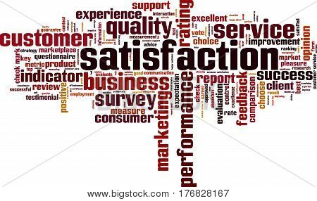 Satisfaction word cloud concept. Vector illustration on white