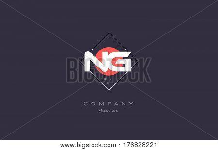 Ng N G  Vintage Retro Pink Purple Alphabet Letter Logo Icon Template