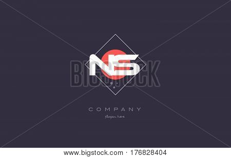 Ns N S  Vintage Retro Pink Purple Alphabet Letter Logo Icon Template