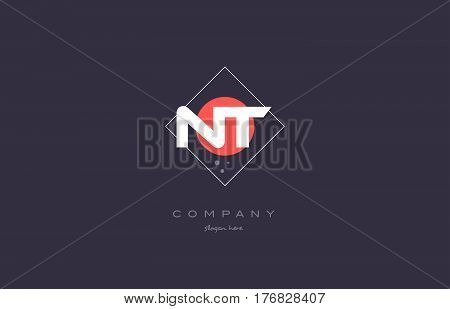 Nt N T  Vintage Retro Pink Purple Alphabet Letter Logo Icon Template