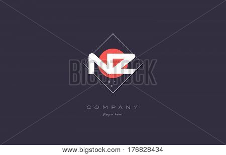Nz N Z  Vintage Retro Pink Purple Alphabet Letter Logo Icon Template