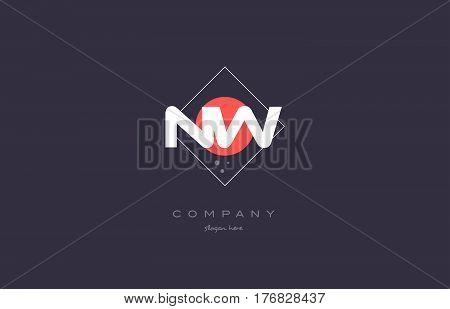 Nw N W  Vintage Retro Pink Purple Alphabet Letter Logo Icon Template
