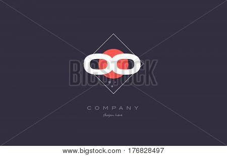 Oo O  Vintage Retro Pink Purple Alphabet Letter Logo Icon Template