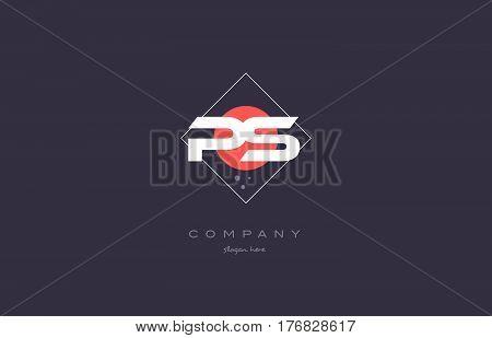 Ps P S  Vintage Retro Pink Purple Alphabet Letter Logo Icon Template