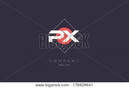 Px P X  Vintage Retro Pink Purple Alphabet Letter Logo Icon Template