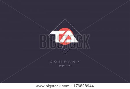 Ta T A  Vintage Retro Pink Purple Alphabet Letter Logo Icon Template