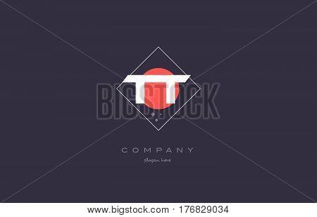 Tt T  Vintage Retro Pink Purple Alphabet Letter Logo Icon Template