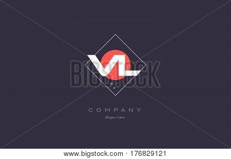 Vl V L  Vintage Retro Pink Purple Alphabet Letter Logo Icon Template
