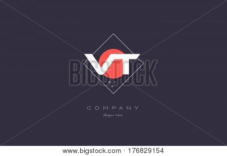 Vt V T  Vintage Retro Pink Purple Alphabet Letter Logo Icon Template