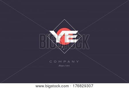 Ye Y E  Vintage Retro Pink Purple Alphabet Letter Logo Icon Template