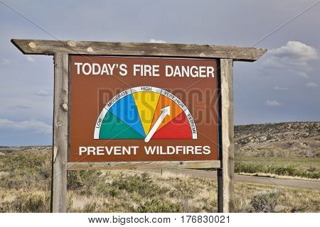 high fire danger roadside warning sign in northwestern Colorado