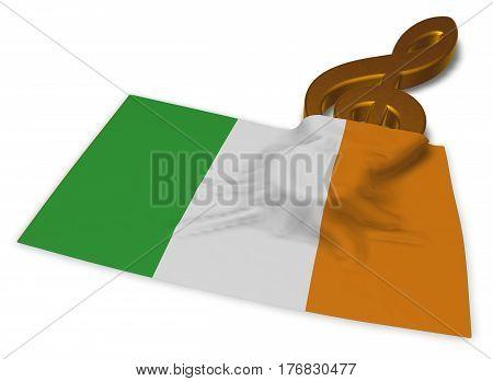clef symbol and irish flag - 3d rendering