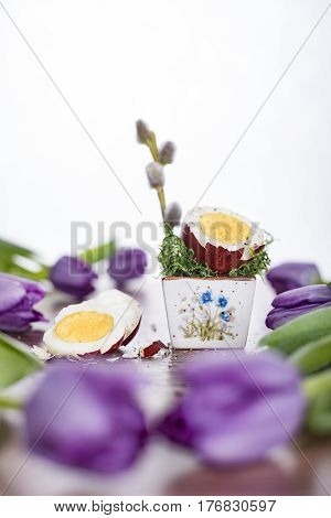 Cut Easter egg in red shell with purple tulips. Happy Easter.