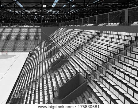Beautiful Sports Arena For Handball With White Seats And Vip Boxes