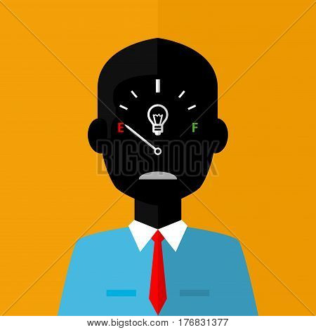 Black silhouette of sad businessman with low creativity gage concept icon on face on orange background - Vector image