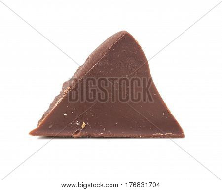 slice of chocolate on a white background .