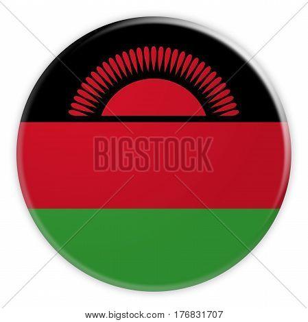 Malawi Flag Button News Concept Badge 3d illustration on white background