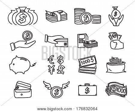 Money Icon Vector Set Hand Drawn Line Art Illustration