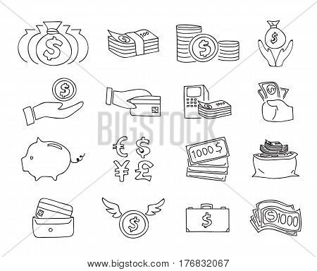 Money Thin Line Icon Vector Set Hand Drawn Line Art Illustration