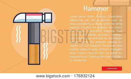 Hammer Conceptual Banner | Great banner flat design illustration concepts for construction, equipment, industry and much more.