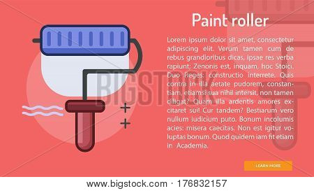 Paint Roller Conceptual Banner | Great banner flat design illustration concepts for construction, equipment, industry and much more.