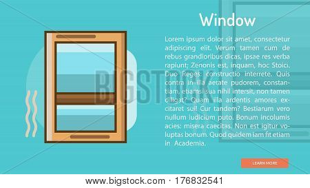 Window Conceptual Banner | Great banner flat design illustration concepts for construction, equipment, industry and much more.